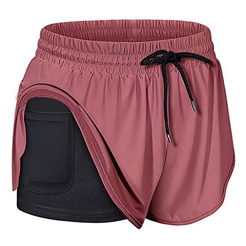 OUICE Homme Damen Sport Shorts Yoga Kurze Hose Sporthose Laufshorts Fitnesshose Short mit Taschen Atmungsaktiv Running Workout Shorts