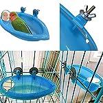 Oiseau Baignoire Bol Bassin Suspendu Birdbath Jouet Pet Perroquet Budgie Perruche Perruche Cockatiel Cage Douche Alimentation Nourrisseur avec Miroir #2