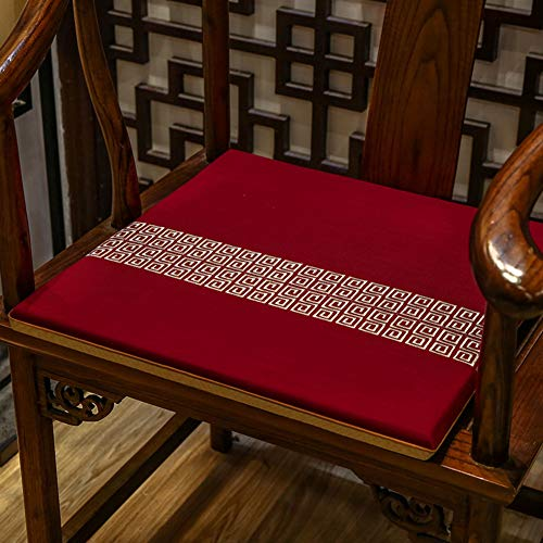AINH Chinese Cotton Linen Chair Pad,Light Luxury Non-Slip Durable Chair Cushion Breathable Soft Removable Washable Cushion for Home Office Chair-j 50x40cm(20x16inch)