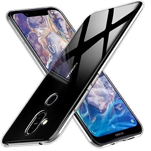 Peakally Nokia 8.1 Hülle, Soft Silikon Dünn Transparent Hüllen [Kratzfest] [Anti Slip] Durchsichtige TPU Schutzhülle Hülle Weiche Handyhülle für Nokia 8.1 -Klar