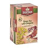 TÉ SULTAN Té verde marroquí con tés de hierbas de orégano (Paquete individual - 20 bolsitas de té)