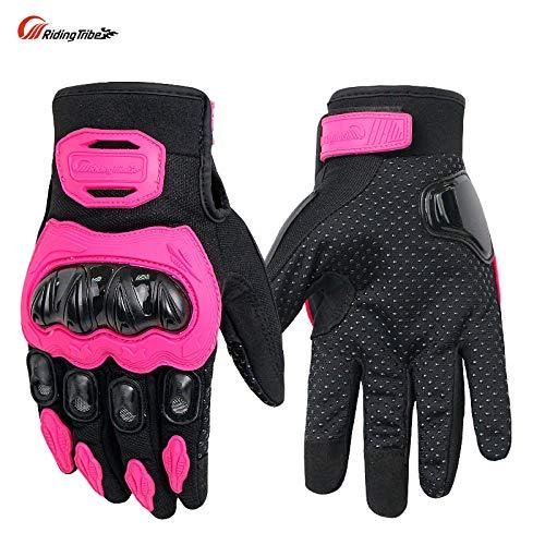 CHQQQ Motorradhandschuhe Vier-Jahreszeiten-Anti-Rutsch-Handschuhe Für Männer Und Frauen Können Bildschirm Berühren,Pink-L