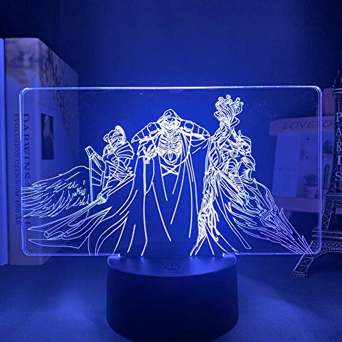 Anime Overbelasting para lámpara Cool 3D ilusión noche luz hogar decoración acrílico LED mejor cumpleaños, festival regalos lámparas (16 colores con mando a distancia)