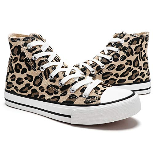 ZGR Womens High Top Canvas Leopard Sneakers Lace ups Casual Walking Shoes(Leopard,US8)