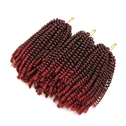 3 Packs Spring Twist Crochet Hair 8 Inch Fluffy Twist Braiding Hair Ombre Natural Black Burgundy Passion Twist Crochet Braids (1B/BUG#)