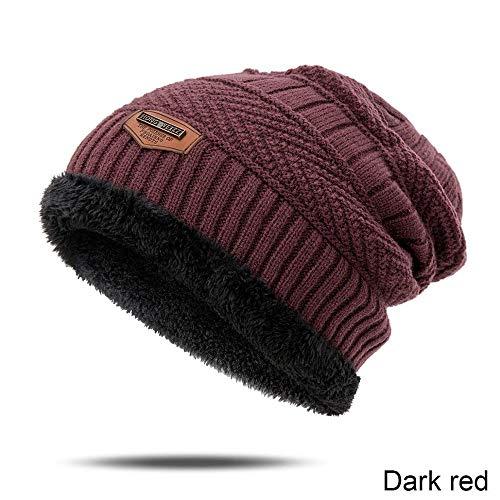 Winter muts beanie gebreide muts cap 6 kleuren nieuwe mannen eenvoudige vaste kleur breien wol hoed herfst winter warme comfortabele mutsen outdoor accessoires, Dark Red