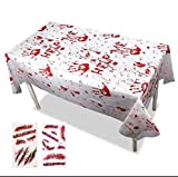 Halloween Party Tablecloths - Zombie Bloody Decorations Handprints Plastic Tablecovers Scary Boy Themed Birthday Supplies Hospital Nurses Day Décor Gift Table Cover Blood Splatter (2 Pack)