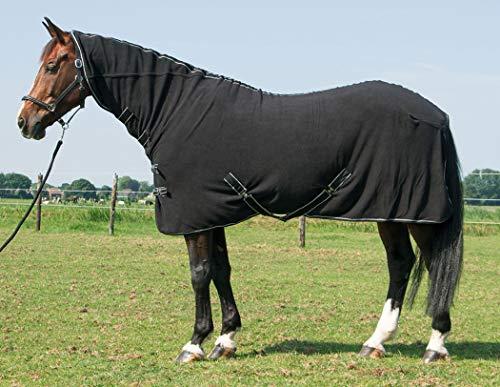Amesbichler Fleecedecke Deluxe mit Halsteil schwarz 155 cm| Pferde Fleecedecke mit Halsteil | Pferde Abschwitzdecke mit Halsteil