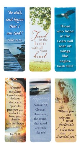 Set of 6 Scenic Nature Inspirational Magnetic Bible Verse Bookmark with Scripture Size Small 225quot x 75quot