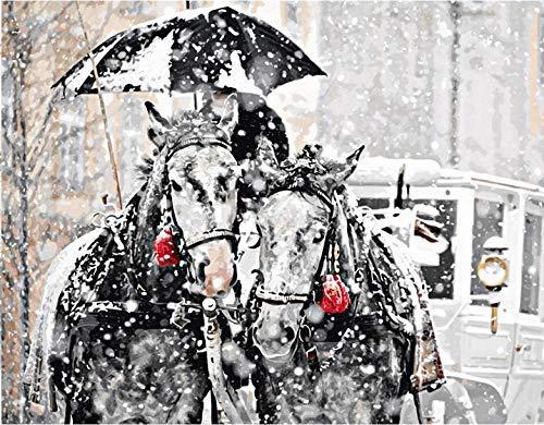 Pintura por números Bricolaje Resumen de caballo decorado por nieve imagen habitación dibujo de pared por número atuendo imagen de arte color por número DIY Pintura al óleo