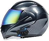 ZLYJ Bluetooth Casco para Motocicleta,Casco Modular Casco Cara Completo Casco Moto Integral con Anti-Niebla Doble Visera, Manos Libres MP3 FM, ECE Homologado E,XL