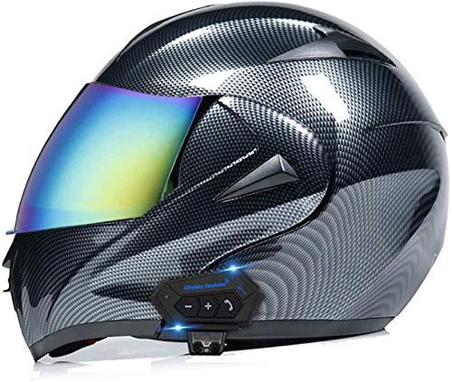ZLYJ Bluetooth Motocicleta Casco Integral, Abierto Cascos de Moto, Modulares Casco con Anti-Niebla Doble Visera, Profesional Unisex Casco Motocross, Certificado ECE A,S