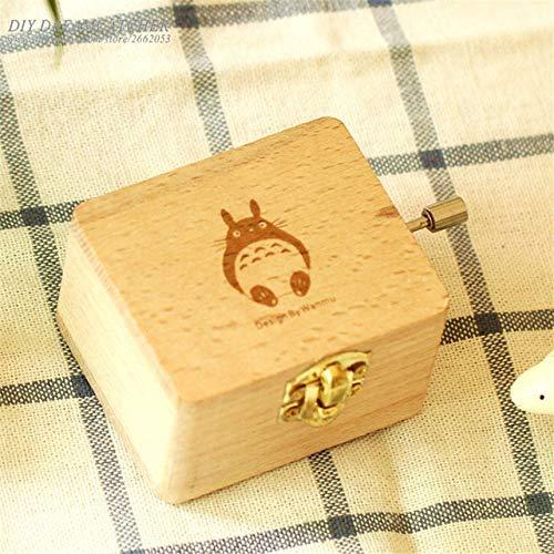 FDASIA Caja de Musica Nueva Caja demúsicaTotoro de Madera de Haya Natural Hecha a Mano Creativa Caja demúsica Caja de Regalo de Recuerdo Especial, cumpleaños, 002