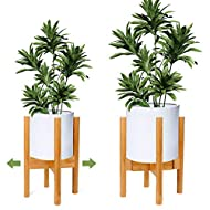 SLEEK MODERN STYLE: Minimalist wood plant stand design originates from classic mid-century style combined with mordern art design, not only display your plants at its best, but make your home more elegance and beautiful. Great for indoor and outdoor ...
