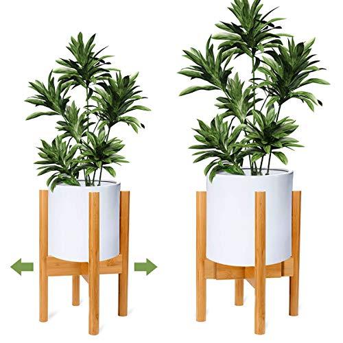 OGIMA - Soporte ajustable de madera para plantas, diseño moderno inspirado en mediados de siglo,...