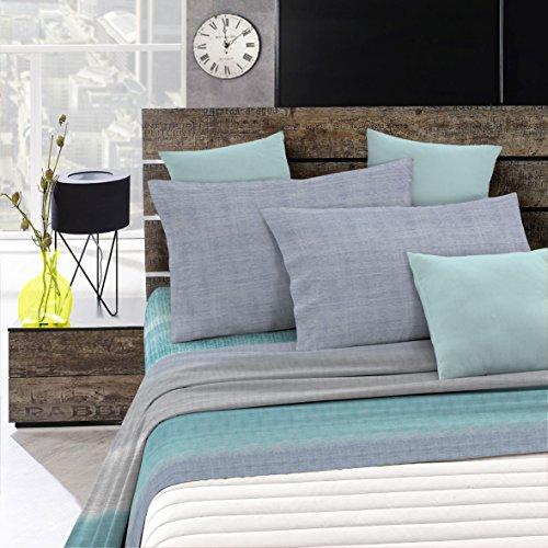 """Italian Bed Linen Completo Letto """"Emotion"""", Barree Acqua, 1 Posto e Mezzo"""