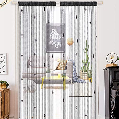 2PCS Fensterscheibe Panel Glasperlen Vorhänge Glitzer Vorhänge Perlen Kristallschnüre Vorhänge Perlen Türöffnung Trennvorhang 100x200cm Hängezimmer Vorhang Quaste Schnur Vorhänge Schnur Tür Vorhang