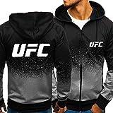 A WARM HOME Hombre con Capucha UFC Imprimir Sudadera con Capucha Sudadera Casual Pullover Classic Hoody Cremallera Chaqueta Abrigo Grey-X-Large