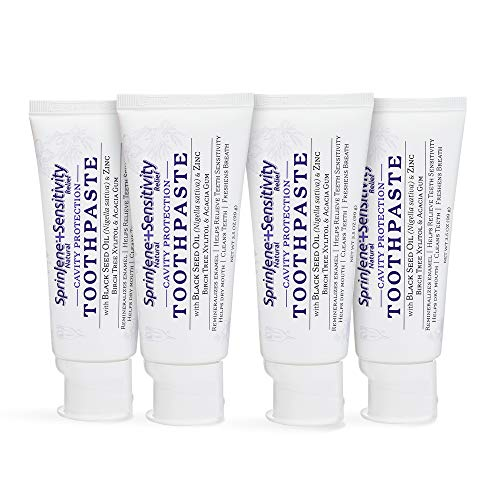 Natural 4-Pack Toothpaste for Sensitive Teeth and Gums, SLS-Free Toothpaste with Fluoride for Cavity Protection, Gluten-Free, Sugar Free, No Artificial Preservatives, 3.5 oz -SprinJene