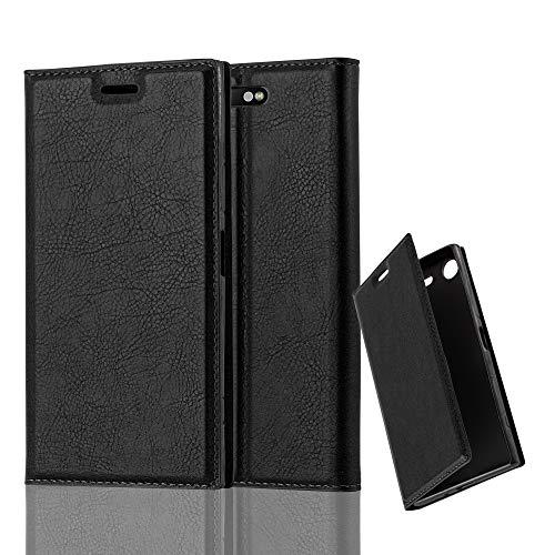 Cadorabo Hülle für Sony Xperia XZ1 - Hülle in Nacht SCHWARZ – Handyhülle mit Magnetverschluss, Standfunktion & Kartenfach - Hülle Cover Schutzhülle Etui Tasche Book Klapp Style