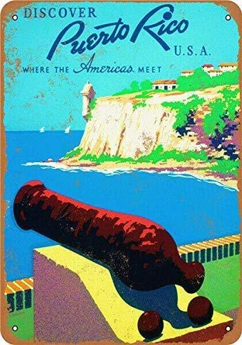 Plaque de voyage en métal 20 x 30 cm - Puerto Rico