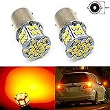 HooMoo 3014SMD(S25 P21W 1156 BA15S G18) LEDバルブ ウインカー 電球 S25 シングル 球 ピン角180° 車用 LEDランプ 54連SMD シングル 汎用 変換 超高輝度 12V/24V アンバー 2個セット