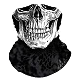 Skull Face Mask Bandana, Motorcycle Face Mask for Men Women, Skeleton Half Face Mask Sun UV Dust Wind Protection Breathable Rave Face Scarf Neck Gaiter for Biker Riding Cycling Biker Fishing Hunting