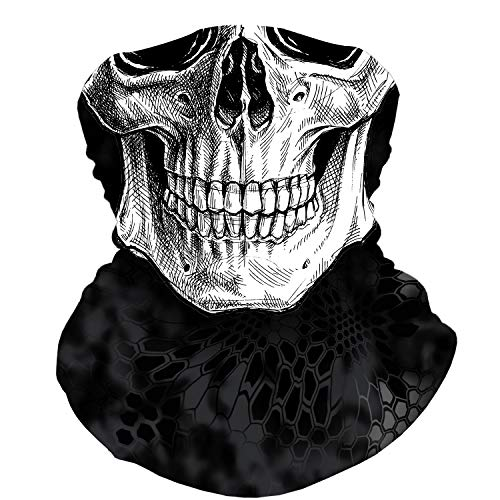Skull Face Mask Bandana, Motorcycle Face Mask for Men Women, Skeleton Half Face Mask Sun UV Dust Wind Protection Breathable Rave Face Scarf Neck Gaiter for Biker Riding Cycling Biker Fishing Hunting