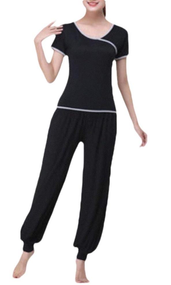 金貸し同情後ろ、背後、背面(部Women Casual 2 Piece Outfit Top Shirts Wide Leg Palazzo Pants Set Tracksuit
