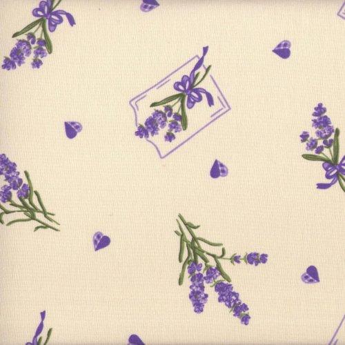 Baumwollstoff | Lavendel und Herzen | 100% Baumwolle | Stoffbreite: 140cm (1 meter)