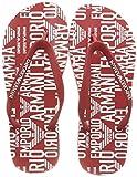 Emporio Armani Swimwear Flip Flop All Over Graphic Logo, Chanclas Hombre, Poppy Wht Pop WH, 44 EU