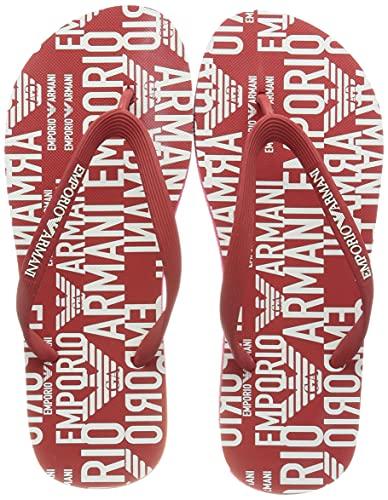 Emporio Armani Swimwear Flip Flop All Over Graphic Logo, Chanclas Hombre, Poppy Wht Pop WH, 39 EU