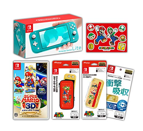 【Amazon.co.jp限定】<ニンテンドースイッチ ホリデーセット>スーパーマリオ 3Dコレクション+Nintendo Switch Lite ターコイズ+アクセサリーセット+おまけ付き