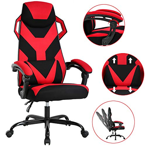 Gaming Chair Ergonomic Office Chair Desk Chair with Lumbar Support Adjustable Arms Headrest Executive Swivel Rolling High Back Racing Computer Chair for Adults Girls Women, Red chair gaming red