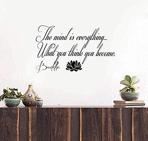 Muurtattoo wandklok met citaten van de Boeddha van The On Lotus zijn in totaal 58 x 36 cm