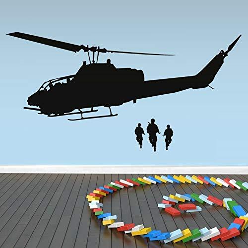 yaonuli Giant Airplane Outline Fashion Wandaufkleber Vinyl Wandtattoo Army Helicopter Wanddekoration 68X36cm