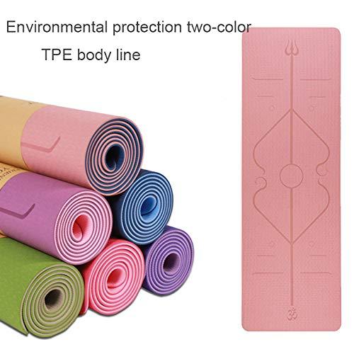 Tpe Yogamat met positielijn Dubbelzijdige antislipmat voor beginners Eco-vriendelijke fitnessmat 1830 * 610 * 6 M
