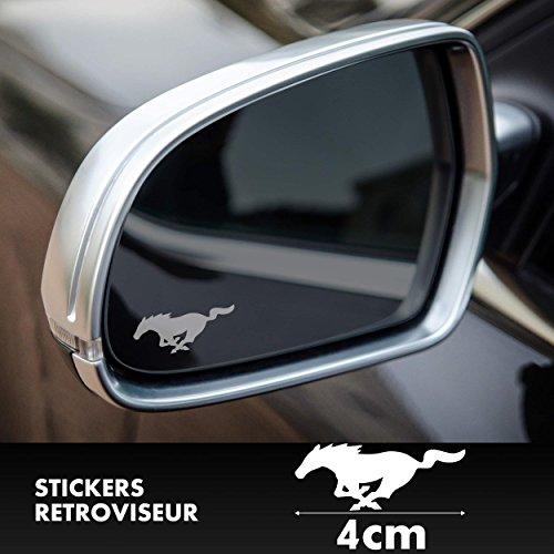 SUPERSTICKI 2X Ford Mustang GT Logo Spiegelaufkleber Milchglasfolie Frostfolie. Aufkleber ohne Hintergrund von aus Hochleistungsfolie für alle glatten Flächen UV und Waschanlagenfest Tuning Prof