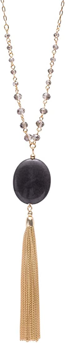 Long Tassel Necklace for Women,Genuine Quartz Stone Pendant Long Necklaces for Women Girls