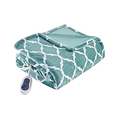 Beautyrest - Plush Heated Throw Blanket – Secure Comfort Technology –Oversized 60  x 70 - Aqua - Ogee Pattern in white - Cozy Soft Microlight Heated Electric Blanket Throw - 3-Setting Heat Controller