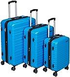 AmazonBasics Hardside Spinner, Carry-On, Expandable Suitcase Luggage with Wheels, Blue - 3-Piece Set