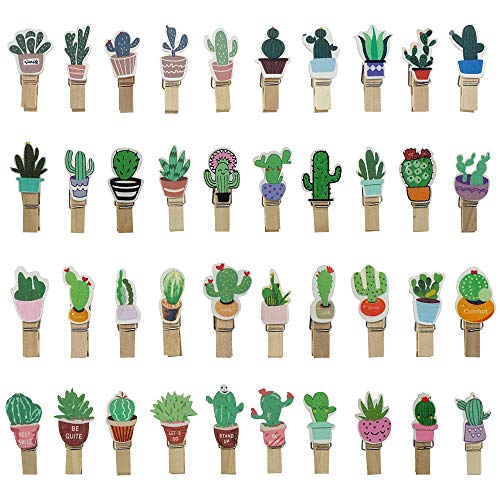 Mini Cactus Wooden Clothespins Floral Decorative Wood Peg Pin Craft Clips for Pictures Memo Card Photo with Jute Twine, 80 Counts by Shxstore