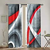 JinSPef Blackout Curtain Gray Black Red White Swirls Blackout Curtains Light Blocking Draperies Window Drapes Curtain for Living Room Child Bedroom Kitchen Cafe 52 X 72 in 2 Panels Set Rod Pocket