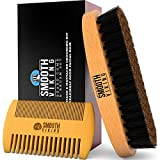 Beard Brush and Comb - Natural Boar Bristle Beard...