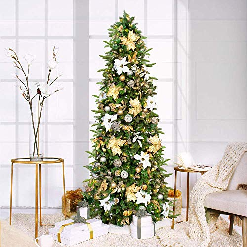 Easy Treezy Prelit Christmas Tree, Easy Setup & Storage in 60 Seconds, Realistic Natural Douglas Fir Pre-Lit Artificial Tree with LED Lights (7.5 ft. Pre-Decorated Classic Silver & Gold)