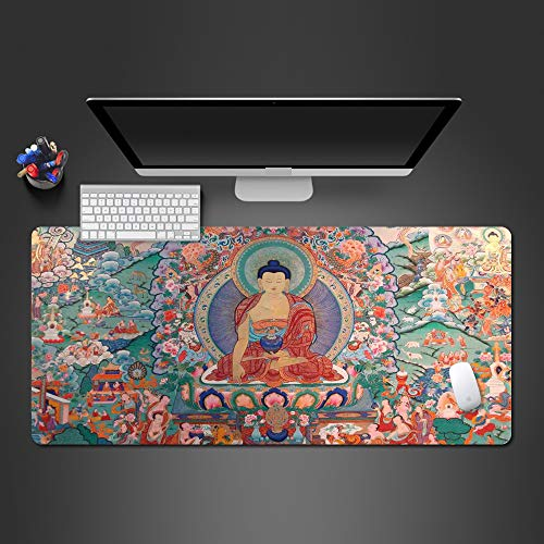 "WLHZNB Large Gaming Mouse Pad with Nonslip Base Buddha Extended XXL Mat, Soft Comfy, Waterproof & Foldable Mat 31.5""x11.8"" for Desktop, Laptop, Keyboard"