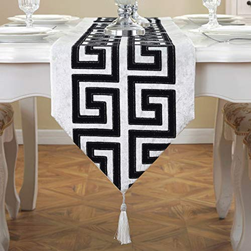 YDDZ Modern Minimalistisch Pluche Tafelloper, Klassiek Retro Tafelkleed voor Thuisdecoratie Diner | Bruiloft | Feest | Cadeau (32x180/210cm) ++