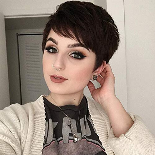 Baruisi Short Brown Wigs for Women Pixie Cut Layered Wig with Bangs Synthetic Heat Resistant Halloween Cosplay Hair Wig