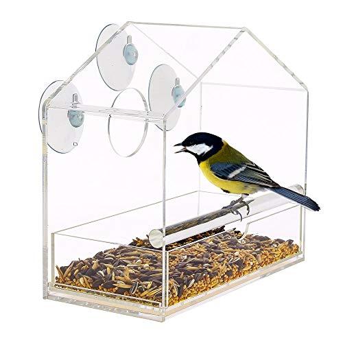 AKND Pets Futterhaus Für Vögel mit Saugnäpfen | Vogelfutterhaus mit Abnehmbarer, Verschiebbarer Zuführschale | Fenster vogelhaus mit saugnapf | 100% Klarglas | Komplett mit Vogelkühlschrankmagnet