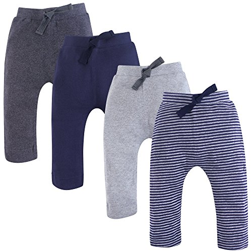 Touched by Nature Unisex Baby Organic Cotton Pants, Navy Gray, 0-3 Months